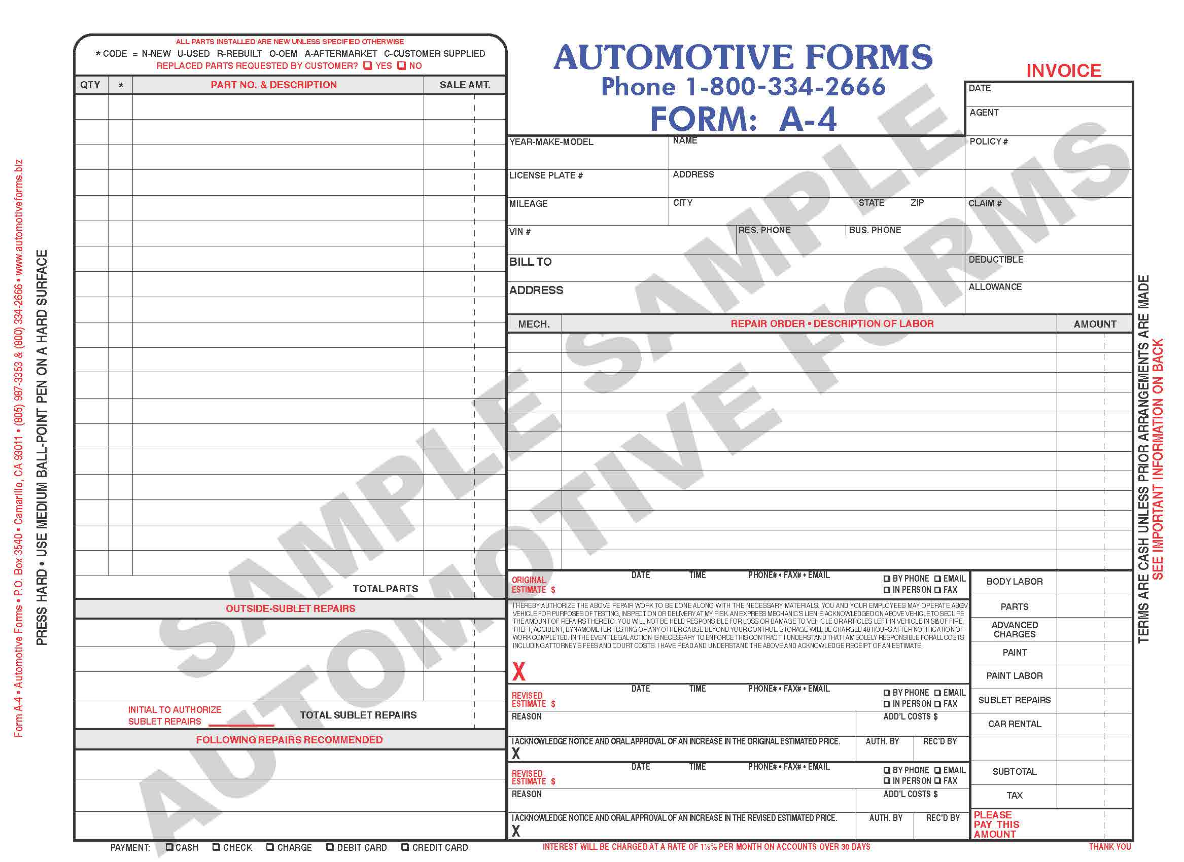 auto body repair invoice template free With body shop invoice