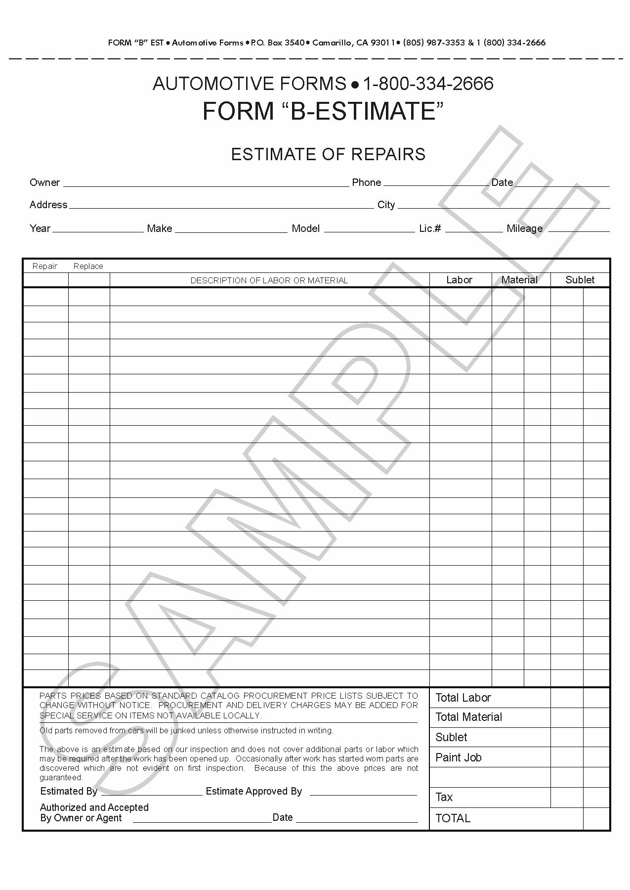 body shop forms the b estimate lined sheets